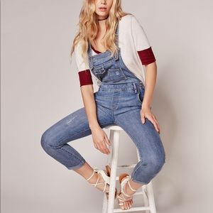 Free People Washed Denim Overall Light Stone Wash